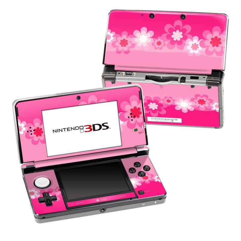 Retro Pink Flowers Nintendo 3DS (Original) Skin