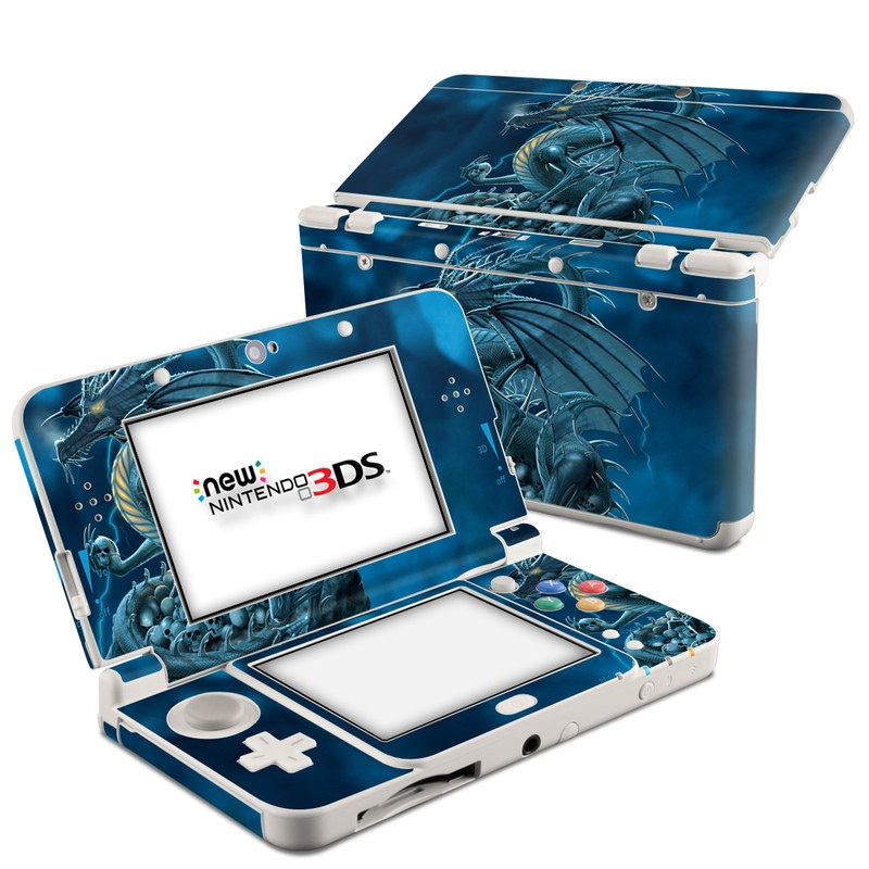 Nintendo 3DS Skin design of Cg artwork, Dragon, Mythology, Fictional character, Illustration, Mythical creature, Art, Demon with blue, yellow colors