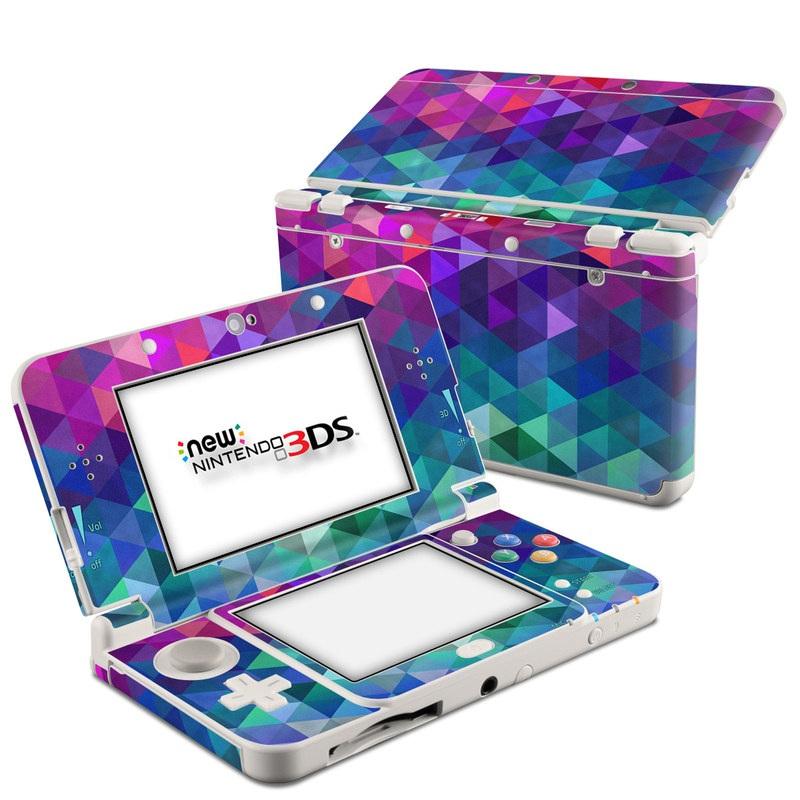 Nintendo 3DS Skin design of Purple, Violet, Pattern, Blue, Magenta, Triangle, Line, Design, Graphic design, Symmetry with blue, purple, green, red, pink colors