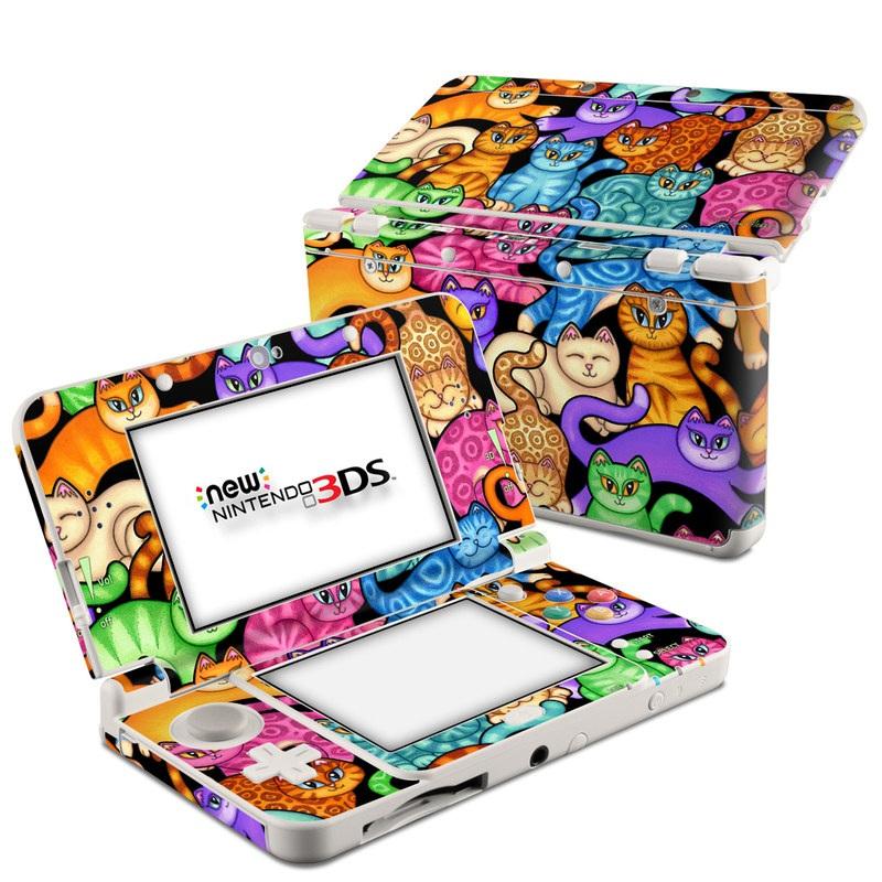 Nintendo 3DS Skin design of Cat, Cartoon, Felidae, Organism, Small to medium-sized cats, Illustration, Animated cartoon, Wildlife, Kitten, Art with black, blue, red, purple, green, brown colors