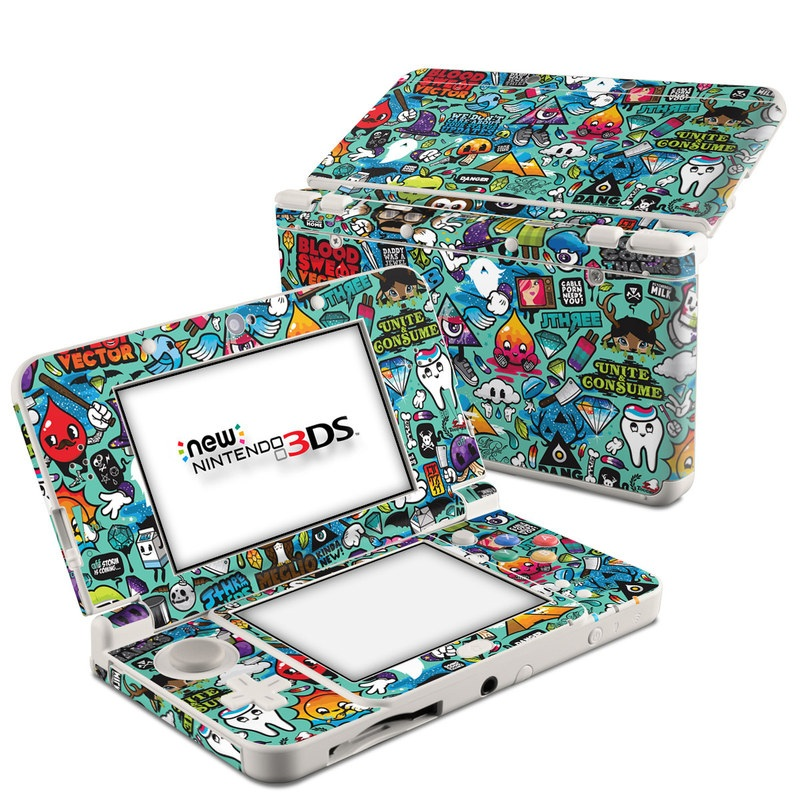 Nintendo 3DS Skin design of Cartoon, Art, Pattern, Design, Illustration, Visual arts, Doodle, Psychedelic art with black, blue, gray, red, green colors