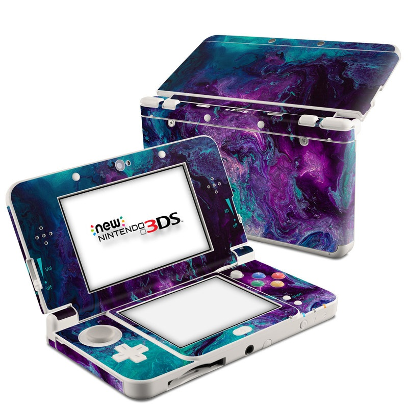 Nintendo 3DS Skin design of Blue, Purple, Violet, Water, Turquoise, Aqua, Pink, Magenta, Teal, Electric blue with blue, purple, black colors