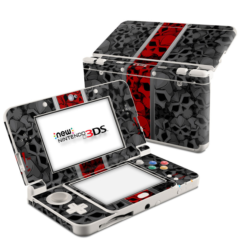Nintendo 3DS Skin design of Font, Text, Pattern, Design, Graphic design, Black-and-white, Monochrome, Graphics, Illustration, Art with black, red, gray colors