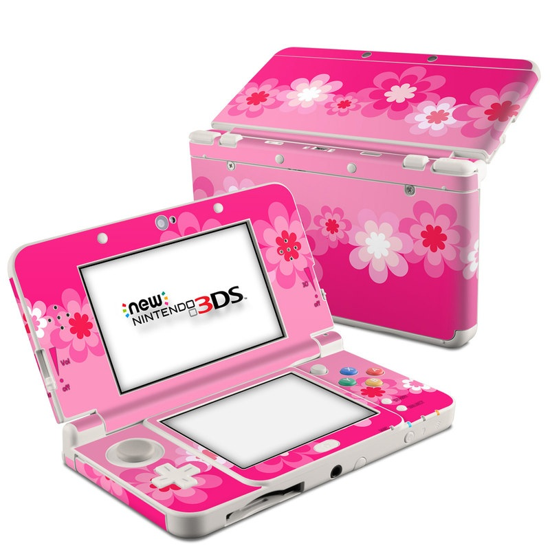 Retro Pink Flowers Nintendo 3DS (2015) Skin