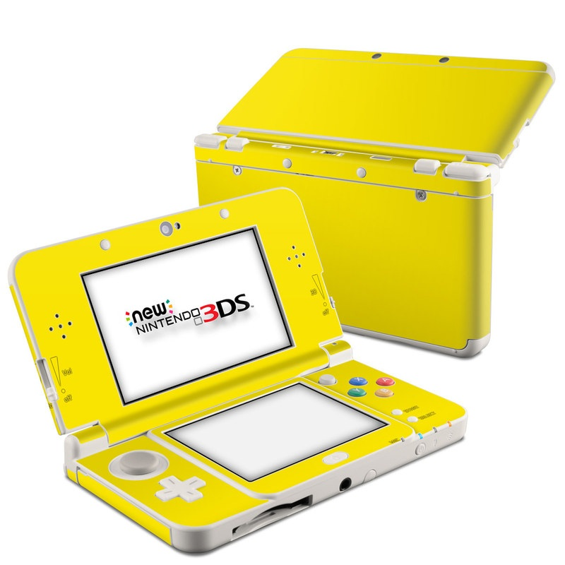 Nintendo 3DS Skin design of Green, Yellow, Orange, Text, Font with yellow colors