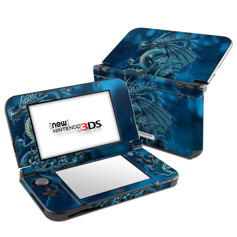 Nintendo 3DS LL Skin design of Cg artwork, Dragon, Mythology, Fictional character, Illustration, Mythical creature, Art, Demon with blue, yellow colors