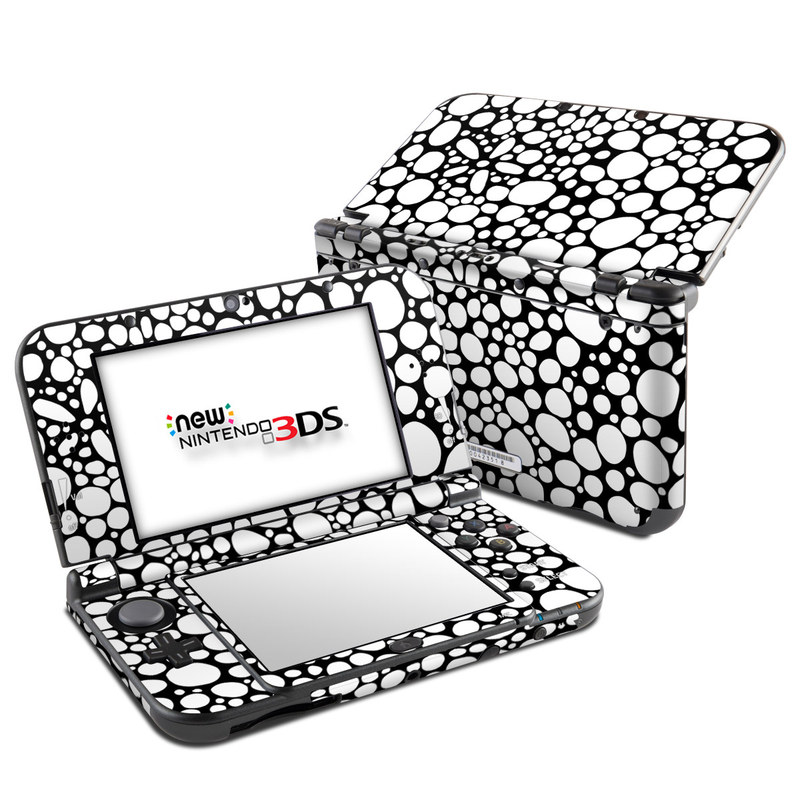Nintendo 3DS LL Skin design of Pattern, Circle, Line, Design, Visual arts, Monochrome, Black-and-white with black, white colors