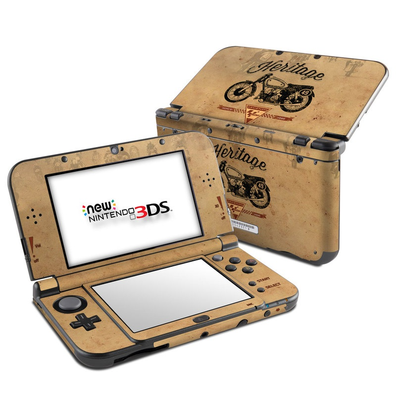 Nintendo 3DS LL Skin design of Motor vehicle, Motorcycle, Vehicle, Font, Illustration, Logo, Graphics, Art, Car with green, gray, black, red colors