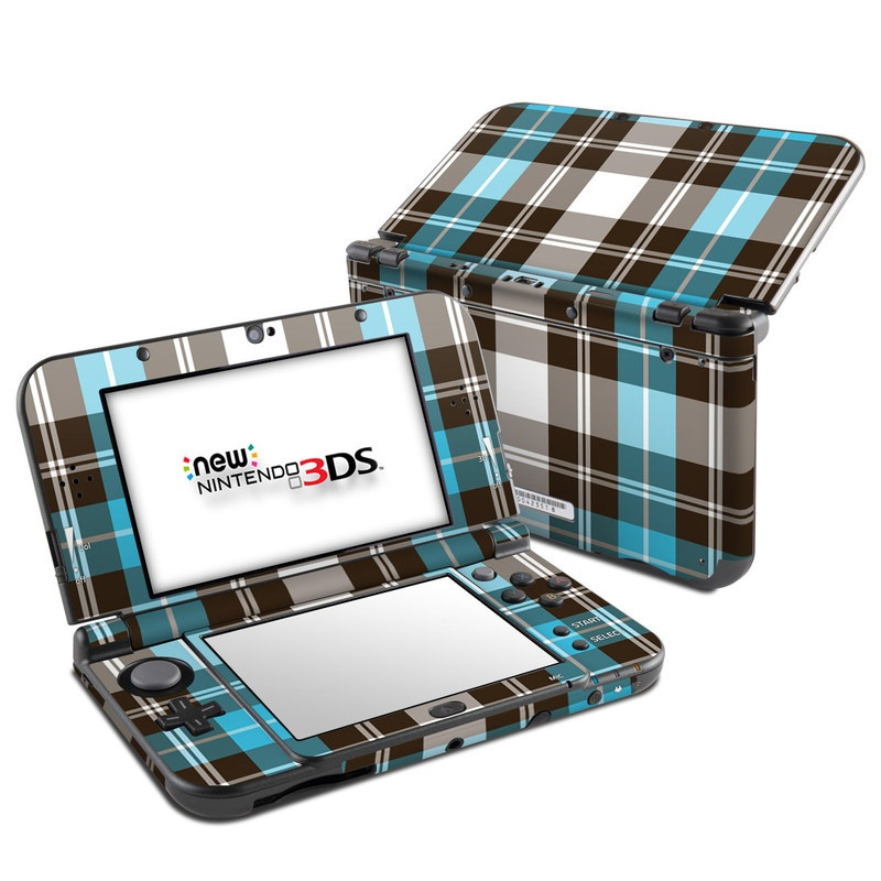 Turquoise Plaid Nintendo 3DS LL Skin