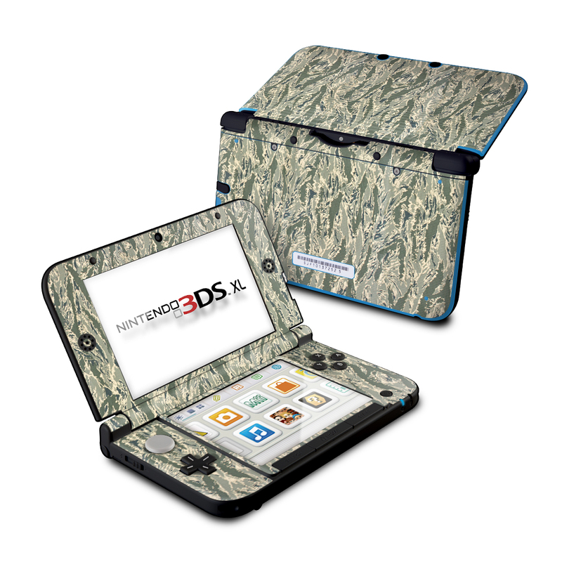 Nintendo 3DS XL Original Skin design of Pattern, Grass, Plant with gray, green colors