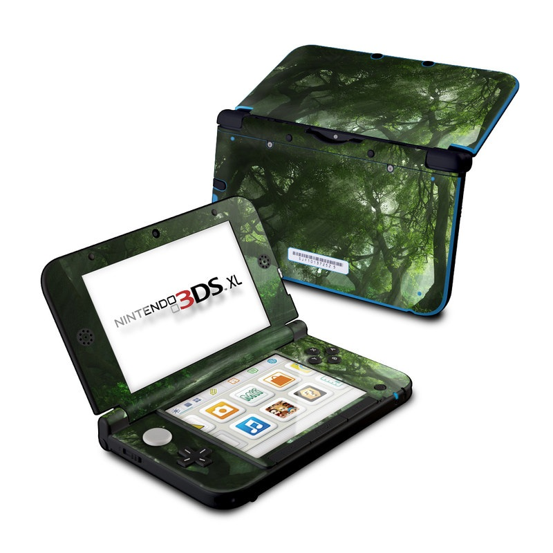 Nintendo 3DS XL Original Skin design of Nature, Tree, Natural landscape, Green, Natural environment, Old-growth forest, Vegetation, Forest, Jungle, Nature reserve with green, black colors