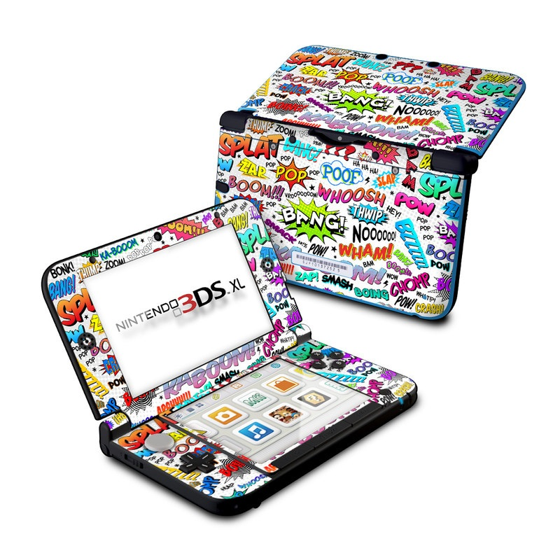Nintendo 3DS XL Original Skin design of Text, Font, Line, Graphics, Art, Graphic design with gray, white, red, blue, black colors