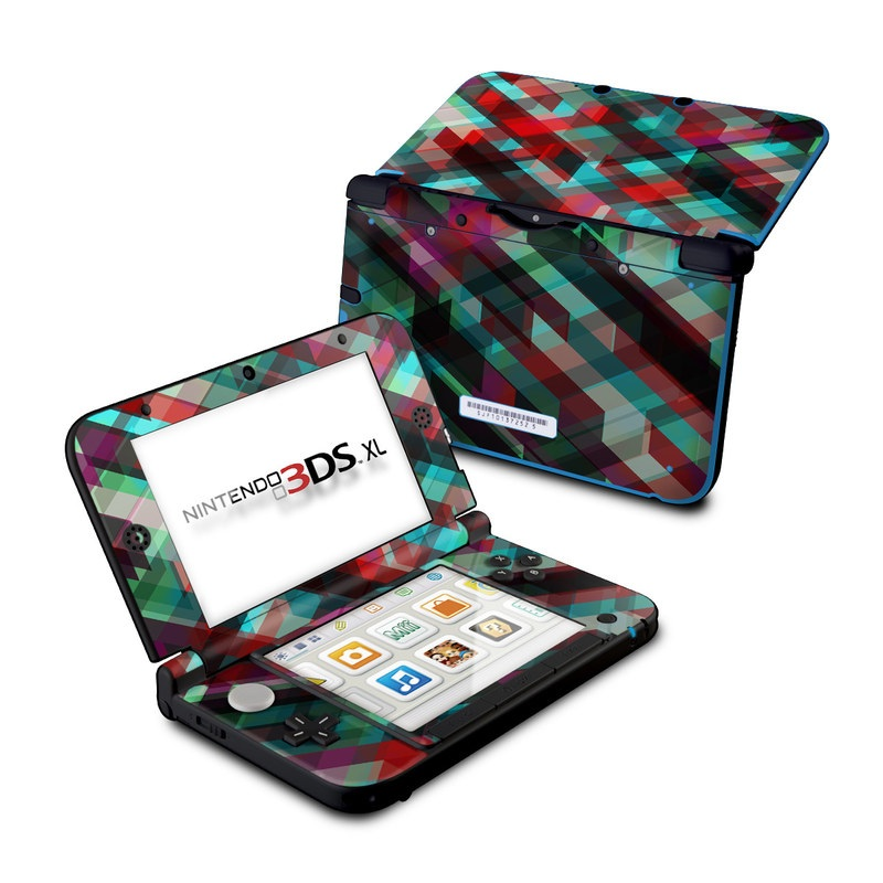 Nintendo 3DS XL Original Skin design of Green, Pattern, Magenta, Purple, Orange, Line, Design, Textile, Plaid with black, red, green, blue, gray colors