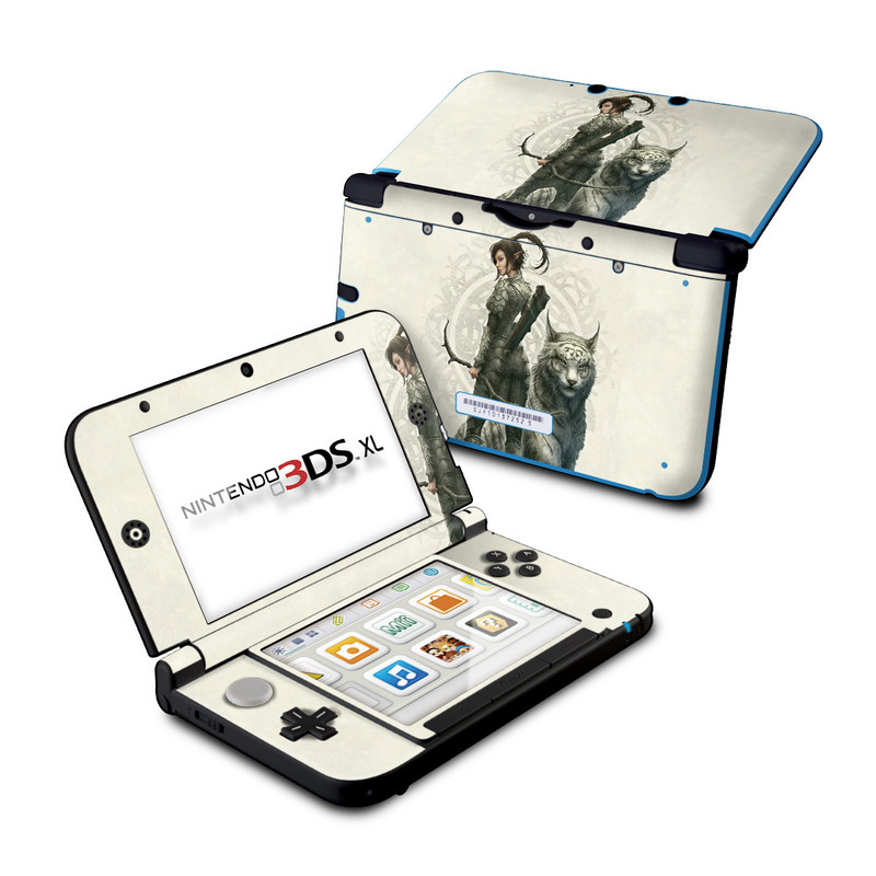 Nintendo 3DS XL Original Skin design of Illustration, Fictional character, Drawing, Woman warrior, Art, Mythology, Sketch with gray, black, pink, yellow, green colors
