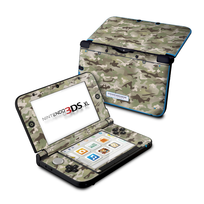 Nintendo 3DS XL Original Skin design of Military camouflage, Camouflage, Pattern, Clothing, Uniform, Design, Military uniform, Bed sheet with gray, green, black, red colors