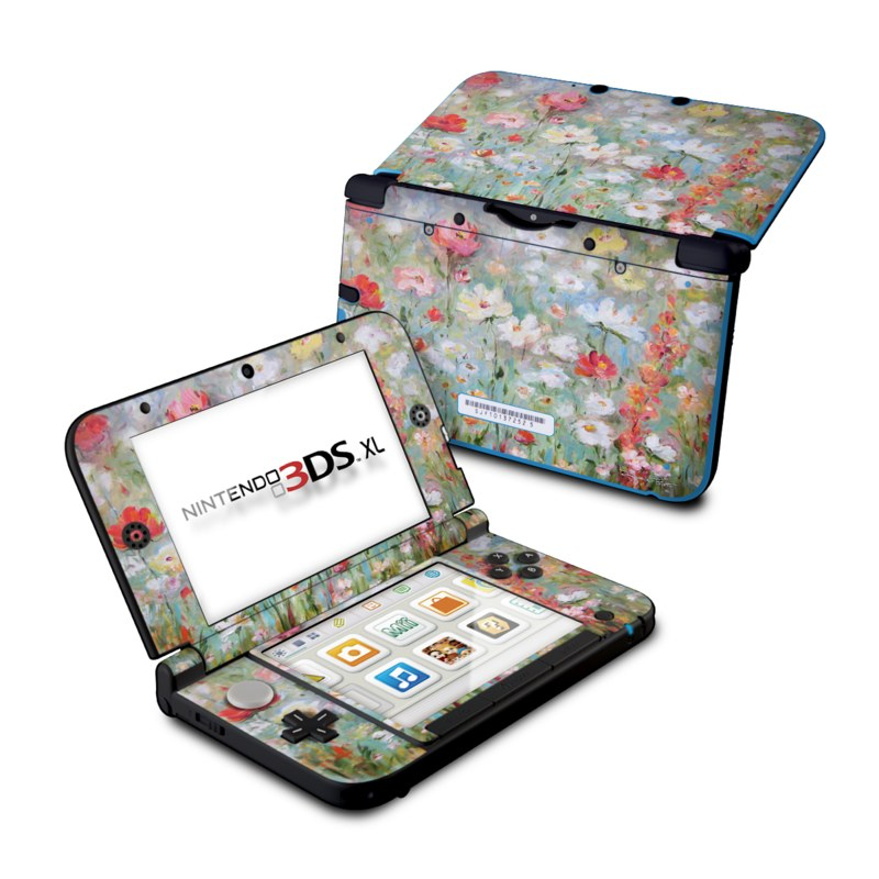 Nintendo 3DS XL Original Skin design of Flower, Painting, Watercolor paint, Plant, Modern art, Wildflower, Botany, Meadow, Acrylic paint, Flowering plant with gray, black, green, red, blue colors