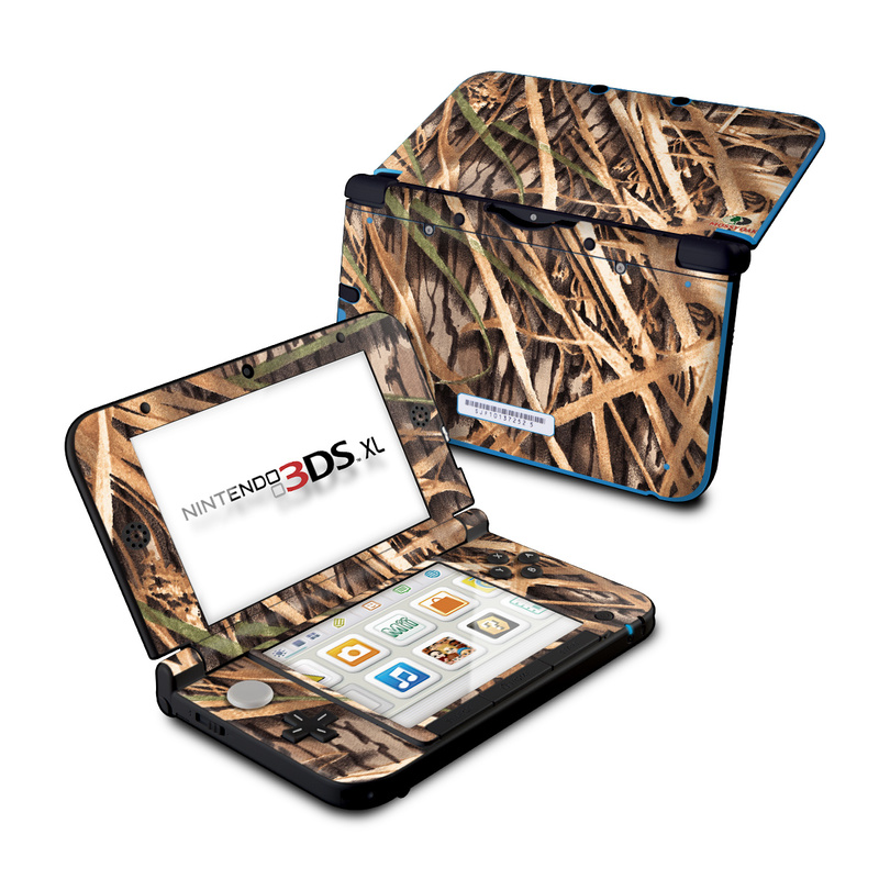 Nintendo 3DS XL Original Skin design of Plant, Grass, Grass family, Tree, Crop with black, gray, green, red colors