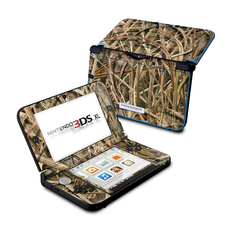 Nintendo 3DS XL Original Skin design of Grass, Straw, Plant, Grass family, Twig, Adaptation, Agriculture with black, green, gray, red colors
