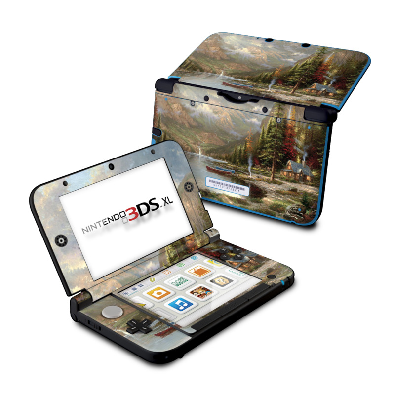 Nintendo 3DS XL Original Skin design of Natural landscape, Nature, Painting, Tree, Landscape, Biome, Sky, Watercolor paint, Forest, Reflection with black, gray, green, red colors