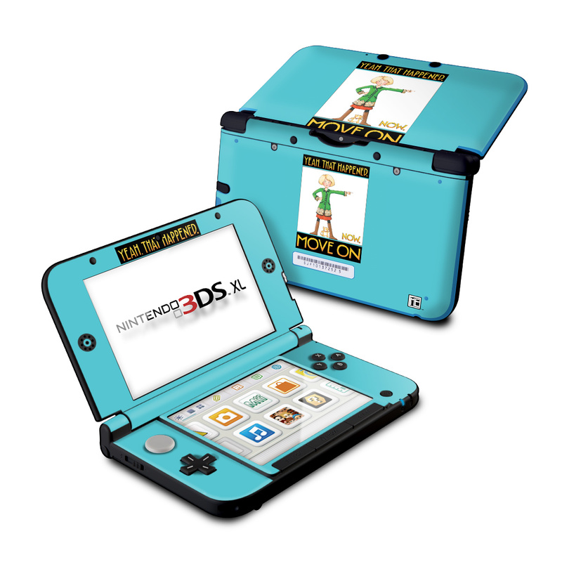 Nintendo 3DS XL Original Skin design of Poster, Cartoon, Illustration with blue, white, black, gray, green colors