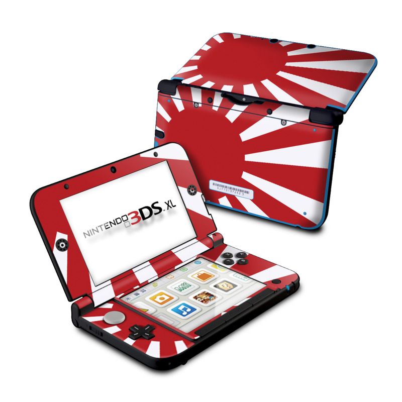 Nintendo 3DS XL Original Skin design of Red, Line, Flag, Pattern, Graphic design, Graphics, Clip art with red, white, gray colors