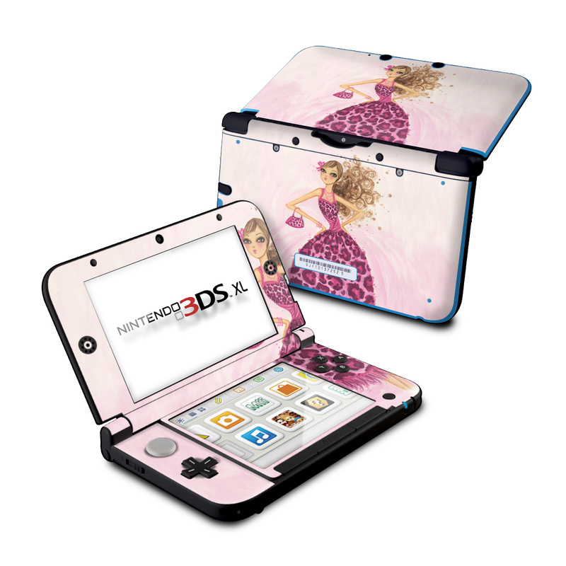 Nintendo 3DS XL Original Skin design of Pink, Doll, Dress, Fashion illustration, Barbie, Fashion design, Illustration, Gown, Costume design, Toy with pink, gray, red, purple, green colors