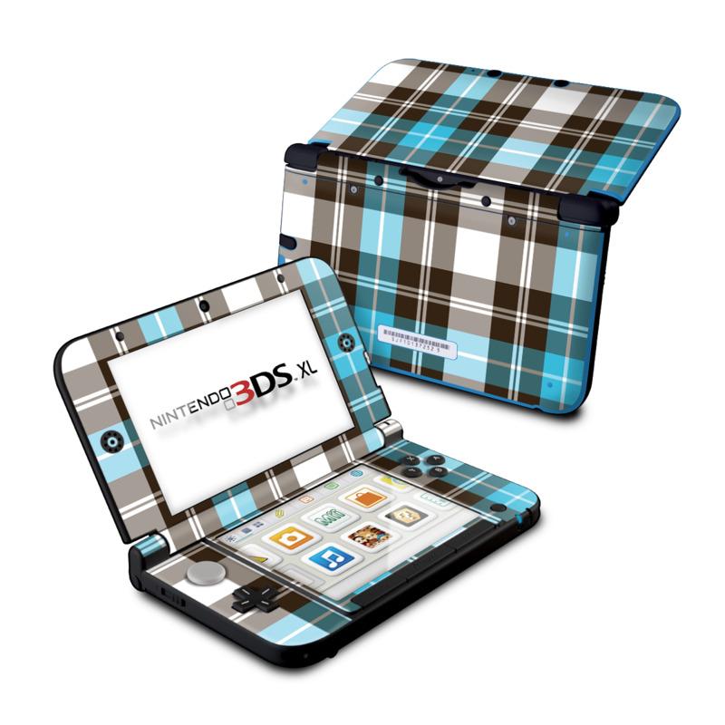 Turquoise Plaid Nintendo 3DS XL (Original) Skin