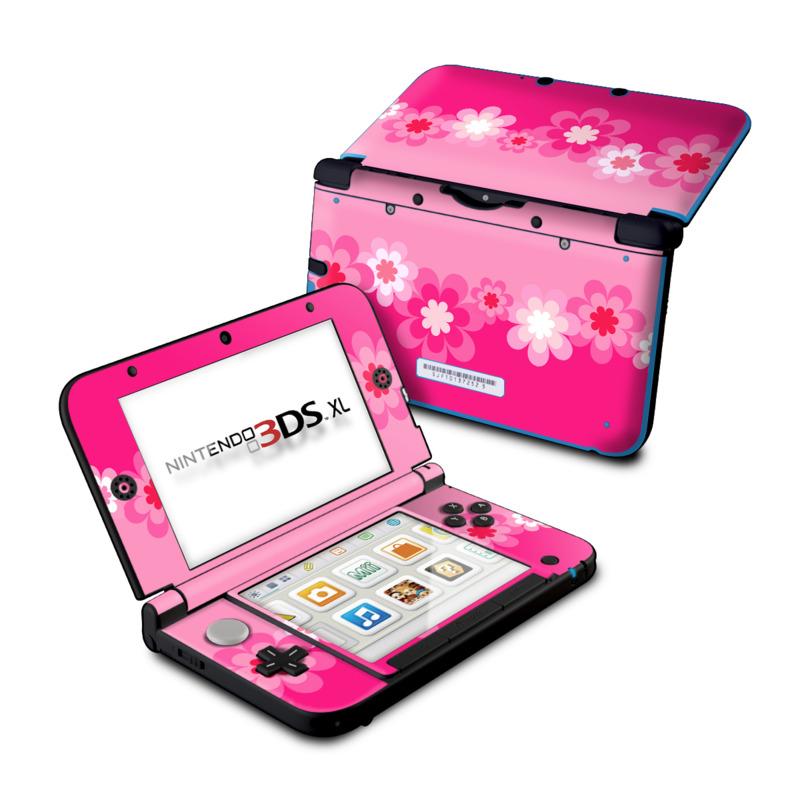 Retro Pink Flowers Nintendo 3DS XL (Original) Skin