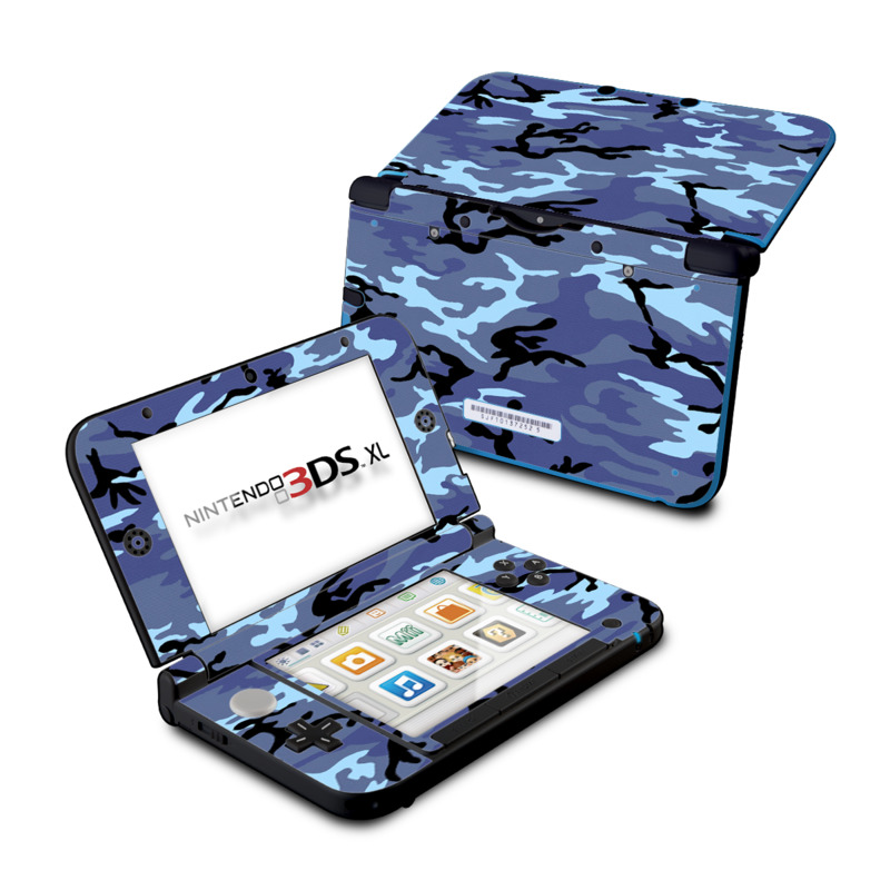 Nintendo 3DS XL Original Skin design of Military camouflage, Pattern, Blue, Aqua, Teal, Design, Camouflage, Textile, Uniform with blue, black, gray, purple colors