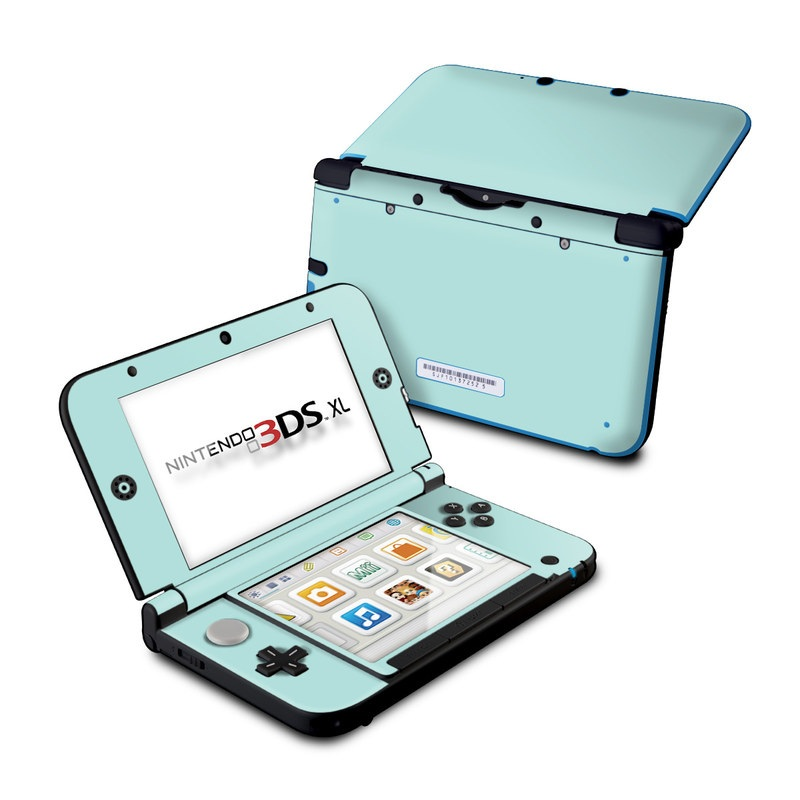 Nintendo 3DS XL Original Skin design of Green, Blue, Aqua, Turquoise, Teal, Azure, Text, Daytime, Yellow, Sky with blue colors