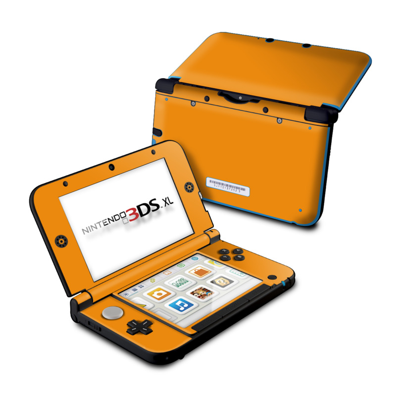 Nintendo 3DS XL Original Skin design of Orange, Yellow, Brown, Text, Amber, Font, Peach with orange colors