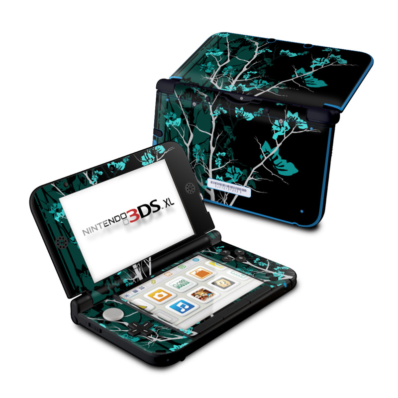 Nintendo 3DS XL Original Skin design of Branch, Black, Blue, Green, Turquoise, Teal, Tree, Plant, Graphic design, Twig with black, blue, gray colors