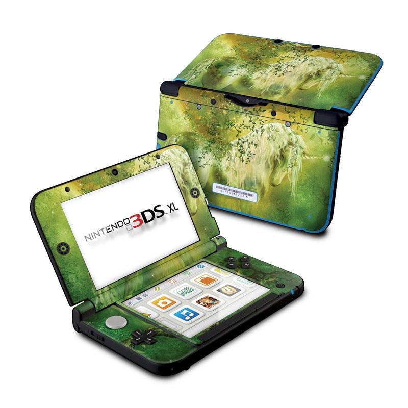 Nintendo 3DS XL Original Skin design of Nature, Green, Painting, Art, Visual arts, Watercolor paint, Illustration, Modern art, Still life with green, black, gray colors