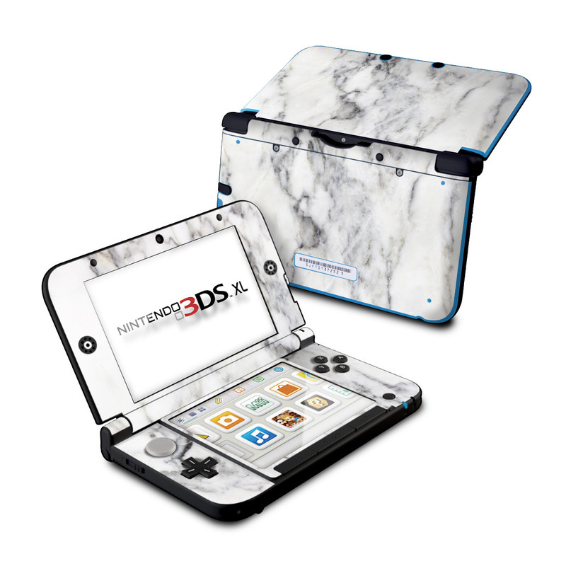 Nintendo 3DS XL Original Skin design of White, Geological phenomenon, Marble, Black-and-white, Freezing with white, black, gray colors