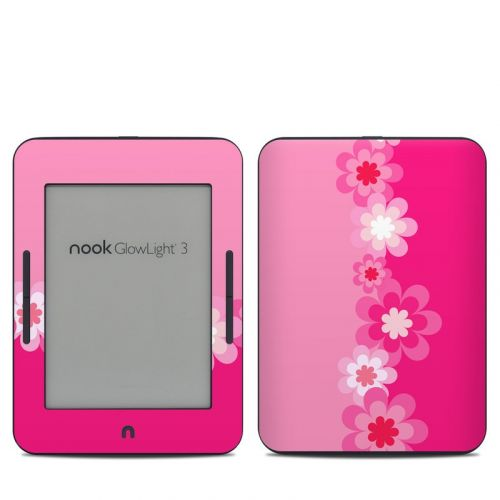 Retro Pink Flowers Barnes & Noble NOOK GlowLight 3 Skin