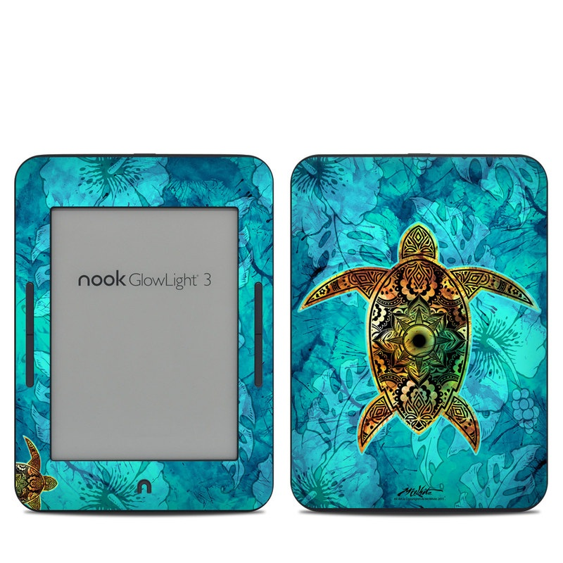 Barnes & Noble NOOK GlowLight 3 Skin design of Sea turtle, Green sea turtle, Turtle, Hawksbill sea turtle, Tortoise, Reptile, Loggerhead sea turtle, Illustration, Art, Pattern with blue, black, green, gray, red colors