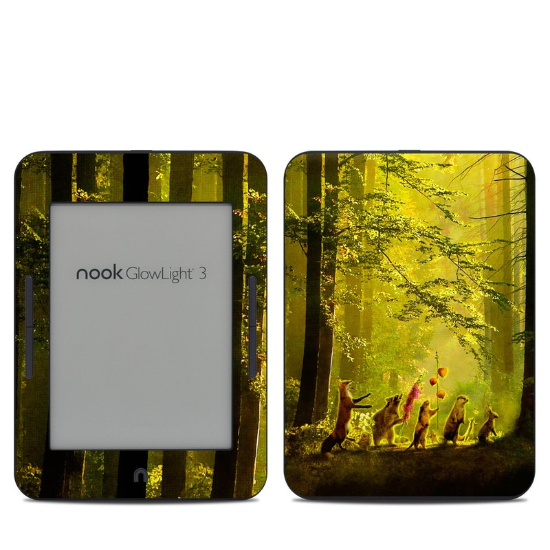 Barnes & Noble NOOK GlowLight 3 Skin design of Nature, Natural environment, Light, Forest, Natural landscape, Yellow, Biome, Sunlight, Woodland, Tree with black, green, red colors