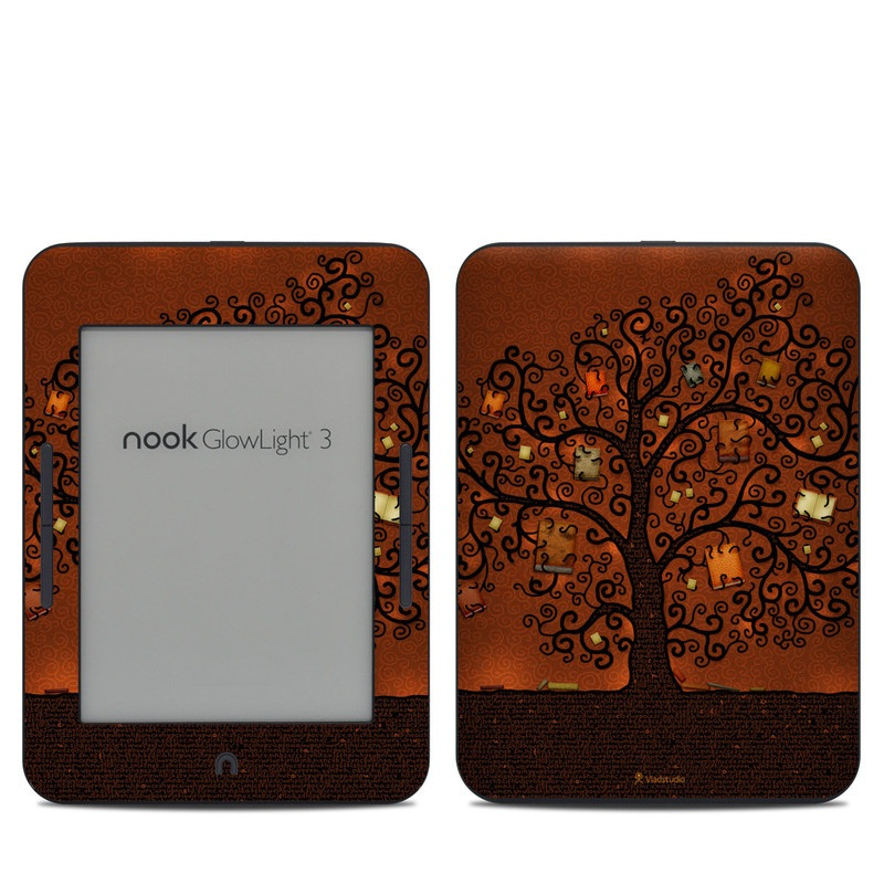 Barnes & Noble NOOK GlowLight 3 Skin design of Tree, Brown, Leaf, Plant, Woody plant, Branch, Visual arts, Font, Pattern, Art with black colors