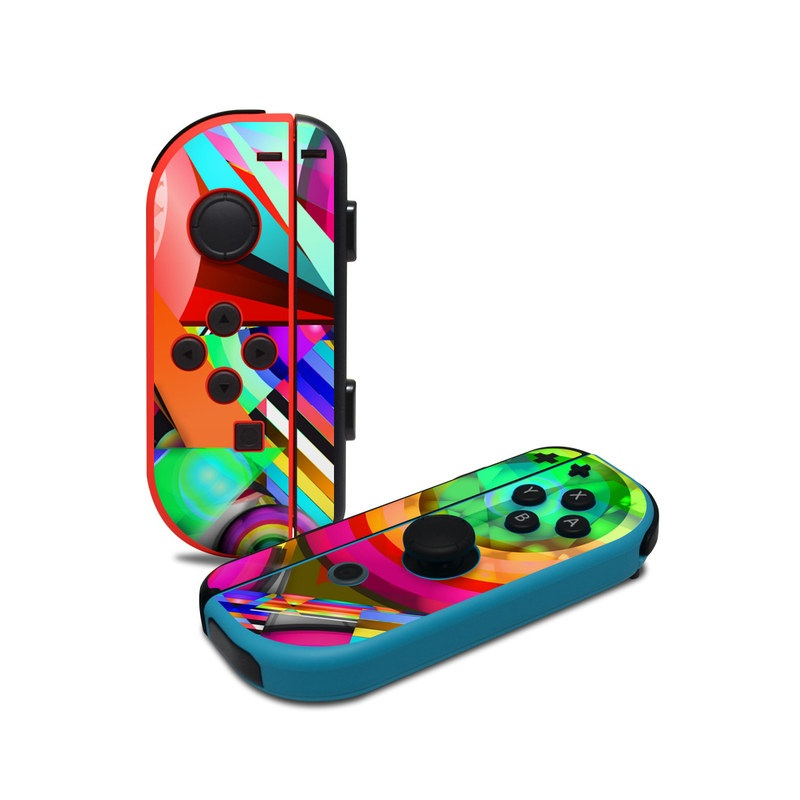 Nintendo Switch JoyCon Controller Skin design of Psychedelic art, Pattern, Design, Graphic design, Colorfulness, Visual arts, Circle, Art with red, pink, green, yellow, orange colors