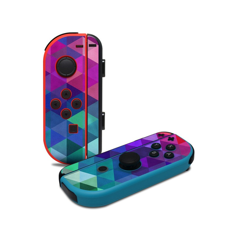 Nintendo Switch JoyCon Controller Skin design of Purple, Violet, Pattern, Blue, Magenta, Triangle, Line, Design, Graphic design, Symmetry with blue, purple, green, red, pink colors