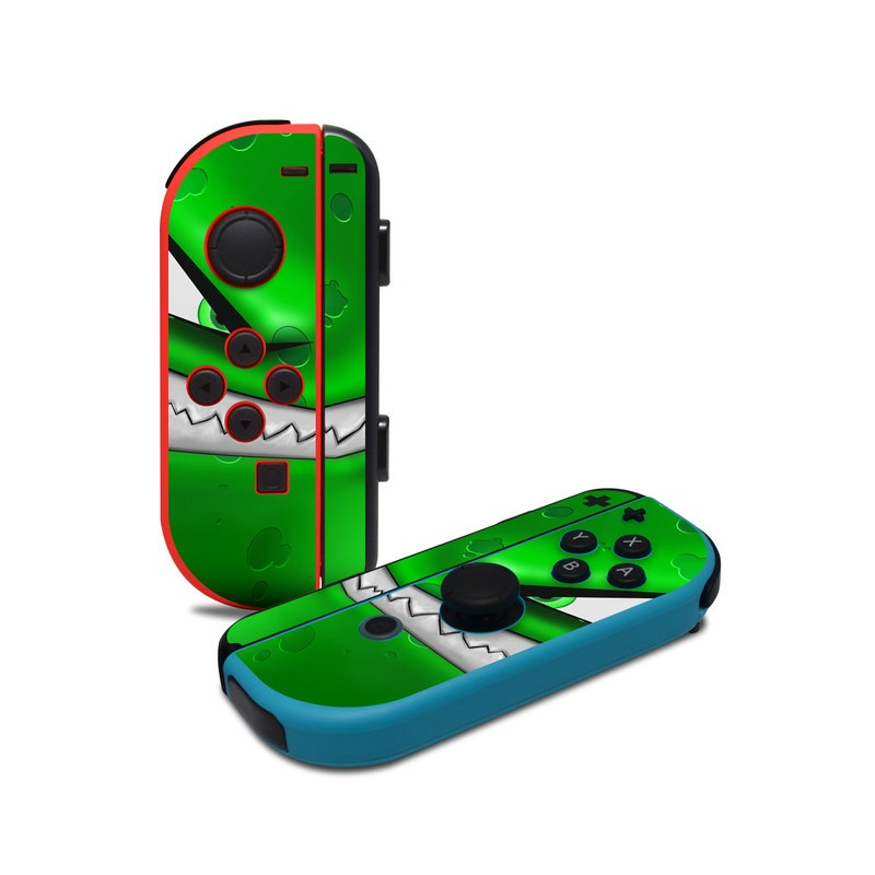 Nintendo Switch JoyCon Controller Skin design of Green, Font, Animation, Logo, Graphics, Games with green, white colors