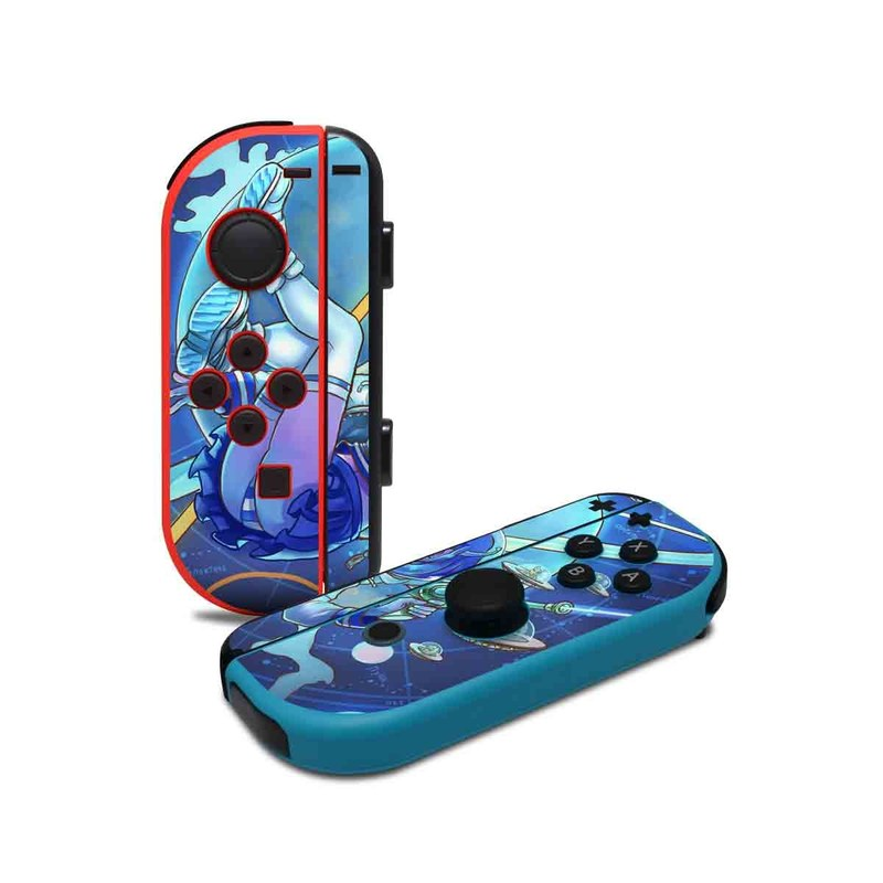 Nintendo Switch JoyCon Controller Skin design of Cartoon, Illustration, Graphic design, Games, Space, Design, Anime, Art, Graphics, Fictional character with blue, white, yellow, purple, green, red, orange, black colors