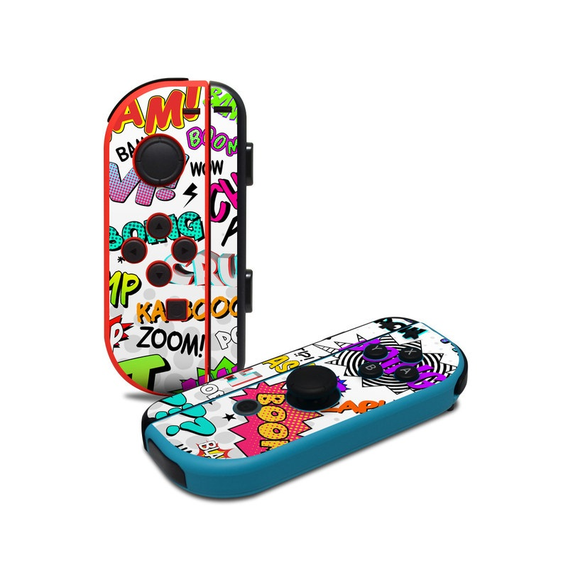 Nintendo Switch JoyCon Controller Skin design of Text, Font, Line, Graphics, Art, Graphic design with gray, white, red, blue, black colors