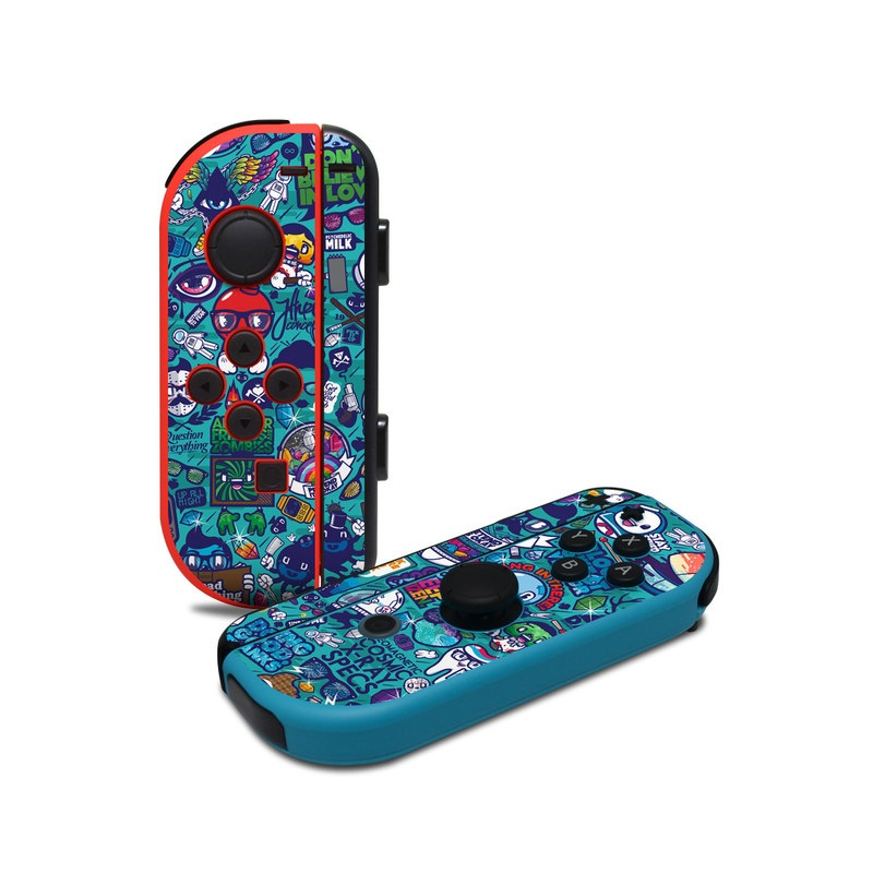 Nintendo Switch JoyCon Controller Skin design of Art, Visual arts, Illustration, Graphic design, Psychedelic art with blue, black, gray, red, green colors