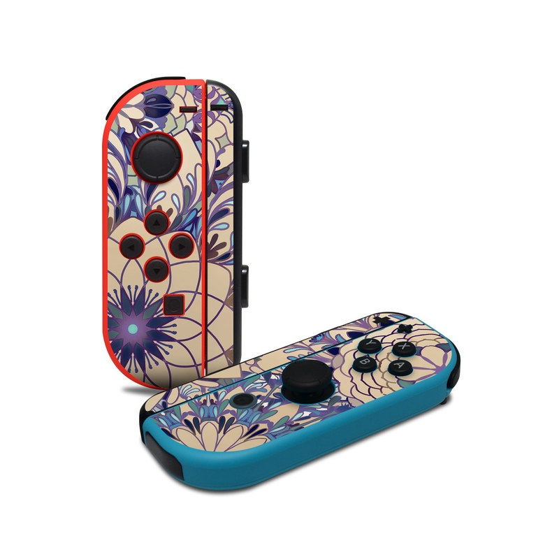 Nintendo Switch JoyCon Controller Skin design of Pattern, Floral design, Design, Visual arts, Motif, Textile, Flower, Plant, Ornament, Pedicel with brown, blue, purple, green colors