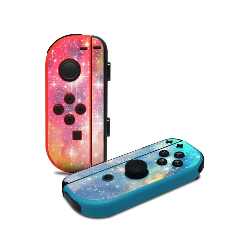 Nintendo Switch JoyCon Controller Skin design of Nebula, Sky, Astronomical object, Outer space, Atmosphere, Universe, Space, Galaxy, Celestial event, Star with white, black, red, orange, yellow, blue colors