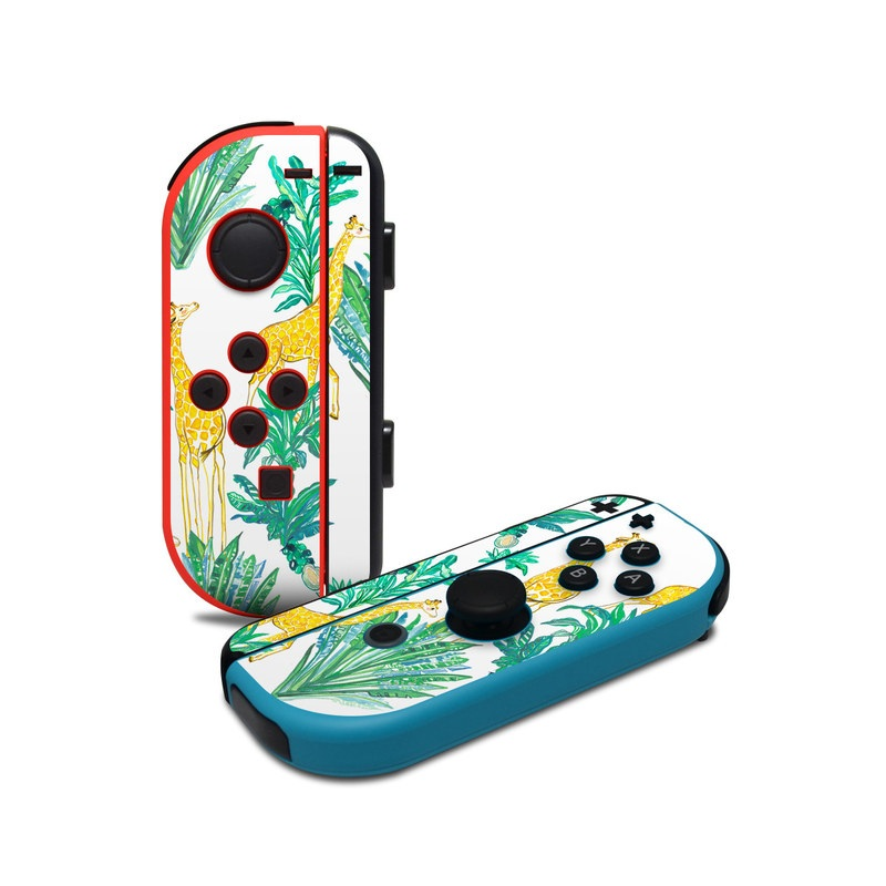 Nintendo Switch JoyCon Controller Skin design of Leaf, Plant, Botany, Pattern, Flower with white, yellow, green colors