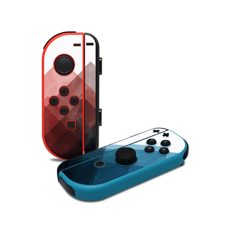 Nintendo Switch JoyCon Controller Skin design of Blue, Red, Sky, Pink, Line, Architecture, Font, Graphic design, Colorfulness, Illustration with red, pink, blue colors