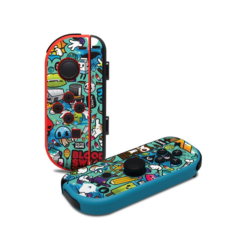 Nintendo Switch JoyCon Controller Skin design of Cartoon, Art, Pattern, Design, Illustration, Visual arts, Doodle, Psychedelic art with black, blue, gray, red, green colors