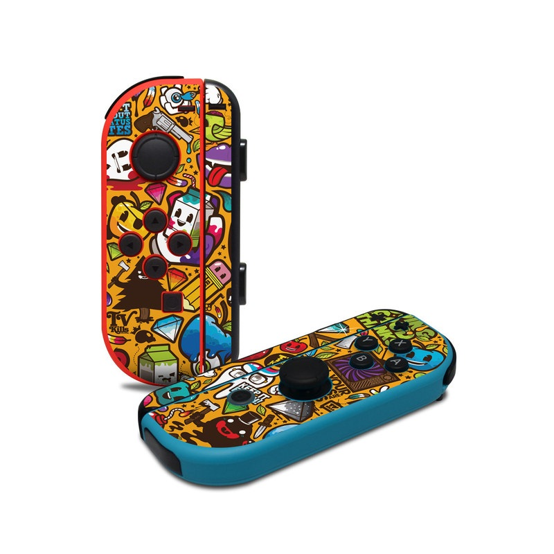 Nintendo Switch JoyCon Controller Skin design of Pattern, Psychedelic art, Visual arts, Art, Design, Illustration, Graphic design, Doodle with black, green, red, gray, orange, blue colors